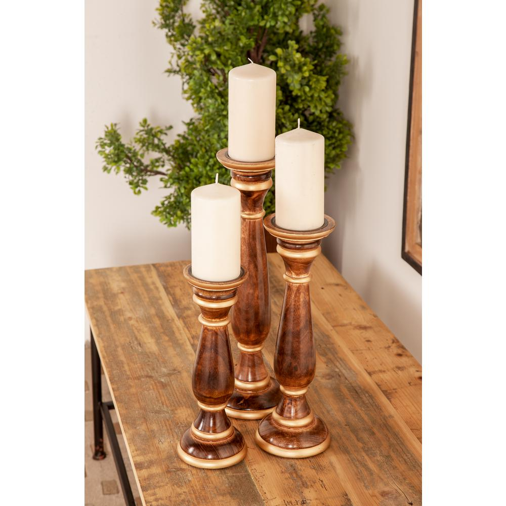 Brown Baluster-Shaped Mango Wood Candle Holders with Gold Ring Accents (Set