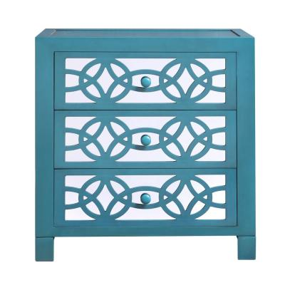 Glam Slam 3-Drawer Teal Cabinet