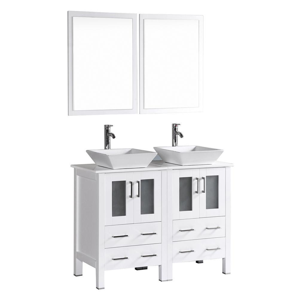 48 in. Double Vanity in White with Vanity Top in White in White with White Basin and Mirror
