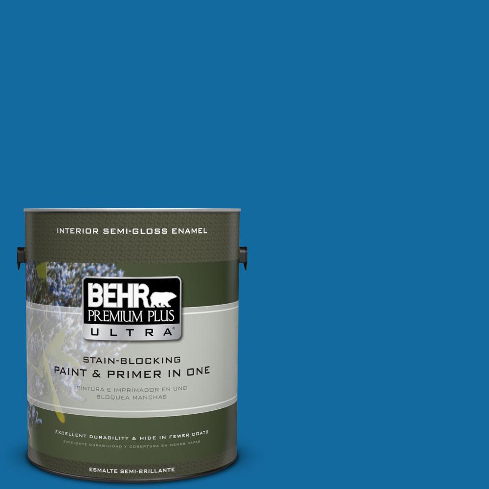 BEHR Premium Plus Ultra 1-gal. #P500-7 Cosmic Cobalt Semi-Gloss Enamel Interior Paint