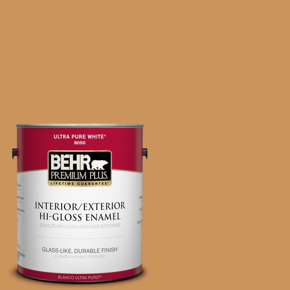BEHR Premium Plus 1-gal. #M250-5 Burnt Pumpkin Hi-Gloss Enamel Interior/Exterior Paint
