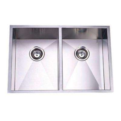 Undermount Stainless Steel 29 in. 0-Hole Double Bowl Kitchen Sink