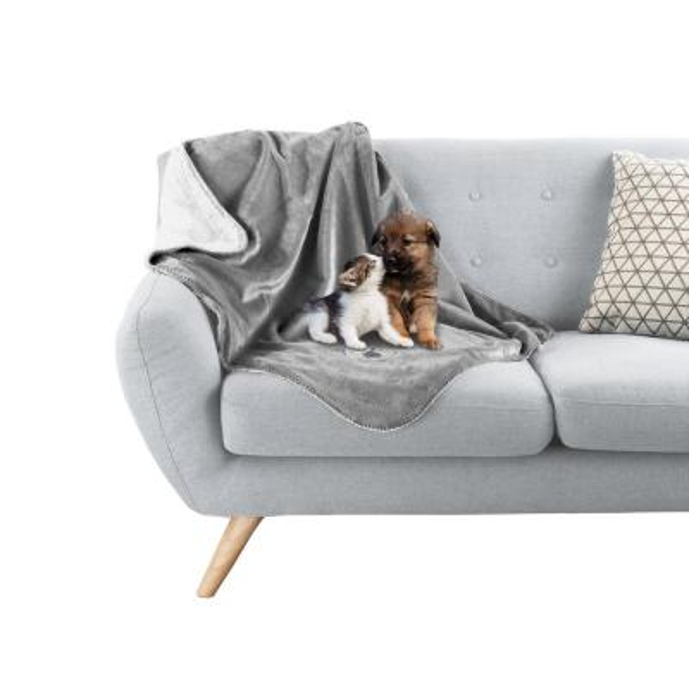 Gray Waterproof Pet Plush Lap Throw Blanket