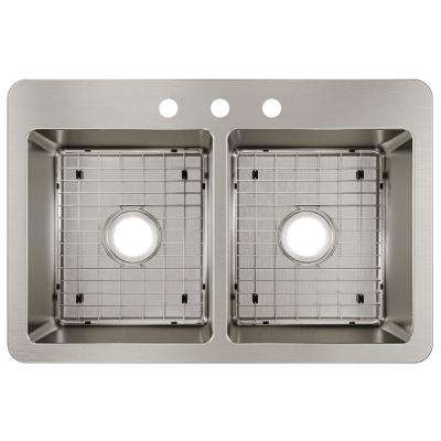 Avenue Drop-in/Undermount Stainless Steel 33 in. 50/50 Double Bowl Kitchen Sink with Bottom Grid