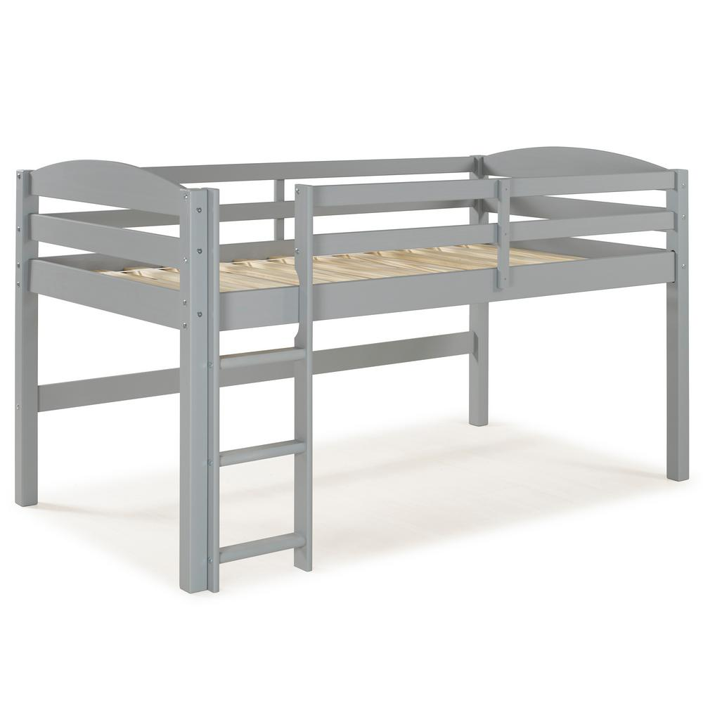 Walker Edison Furniture Company Grey Solid Wood Low Loft Twin Bunk Bed