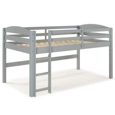 Grey Solid Wood Low Loft Twin Bunk Bed
