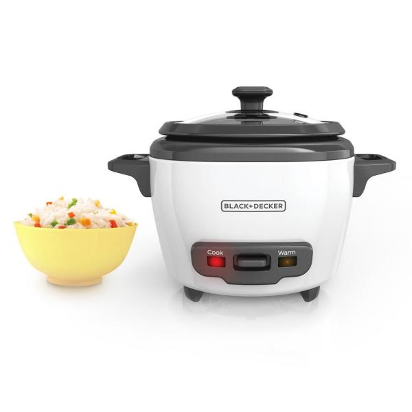 Black Decker 3 Cup White Rice Cooker With Steaming Basket And Non