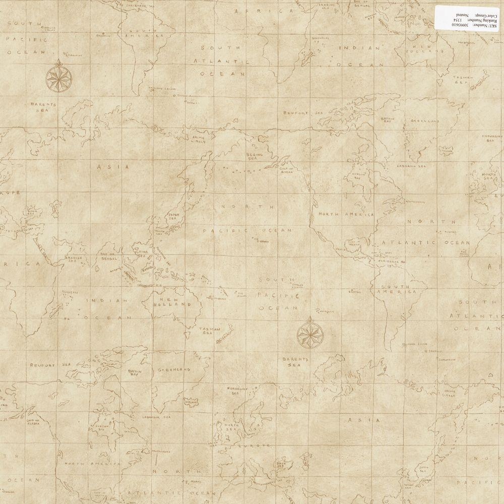 The Wallpaper Company 56 sq. ft. Neutral Map Toile Wallpaper