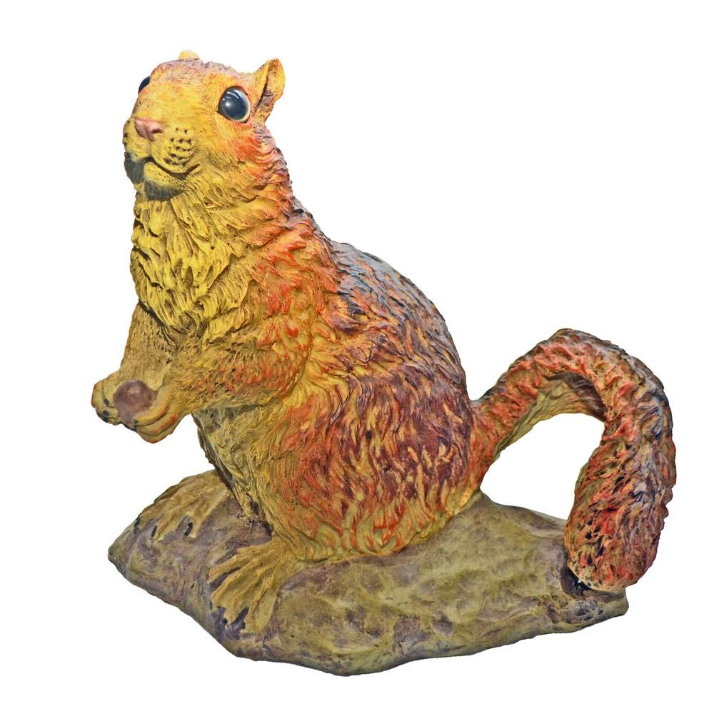 10 in. Red Squirrel Garden Statue