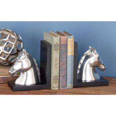 Black and Silver Metal Horse Bookends (Set of 2)