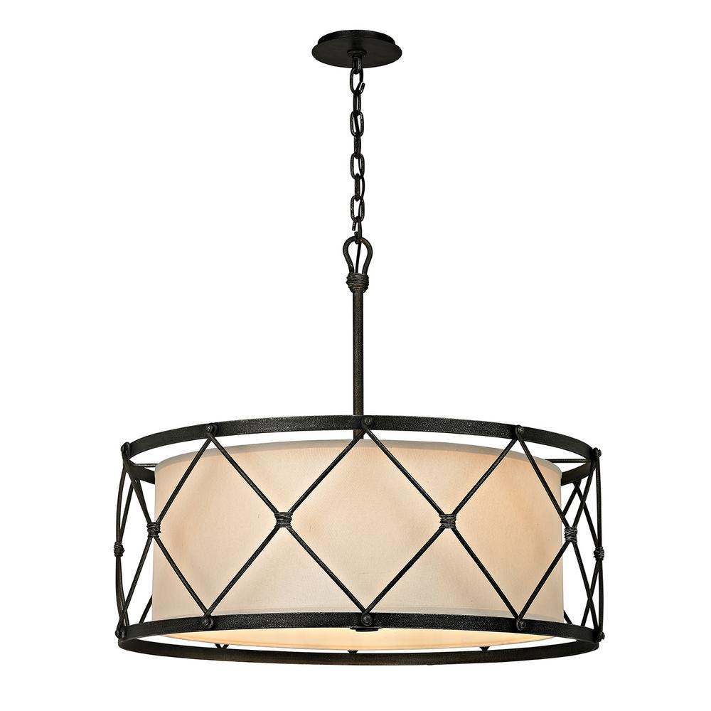 Troy Lighting Palisade 6 Light Aged Pewter 29 In W Pendant With Hardback Linen Shade
