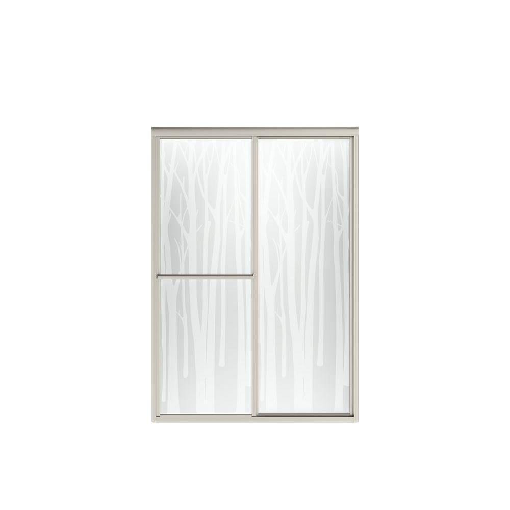 STERLING Deluxe 48.875 in. x 70 in. Framed Sliding Shower Door in Nickel with Birchwood Glass Pattern