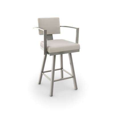 Akers 26 in. Matt Light Grey Metal Beige Polyurethane Counter Stool