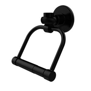 Continental Collection Single Post Toilet Paper Holder with Twisted Accents in Matte Black by