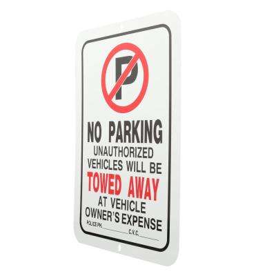 18 in. x 12 in. Plastic No Parking Tow Away Sign