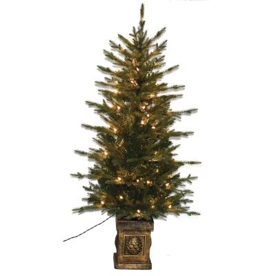 4.5 ft. Pre-Lit Balsam PE Potted Artificial Christmas Tree with Lights