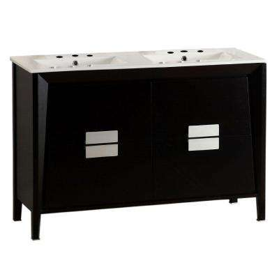 Camarillo 48 in. W x 18 in. D Double Vanity in Dark Espresso with Ceramic Vanity Top in White with White Basins