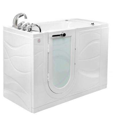 Zen 52 in. Walk-In Whirlpool & Air Bath Bathtub in White with LH Outward Swing Door, Heated Seat, Faucet, LH Dual Drain