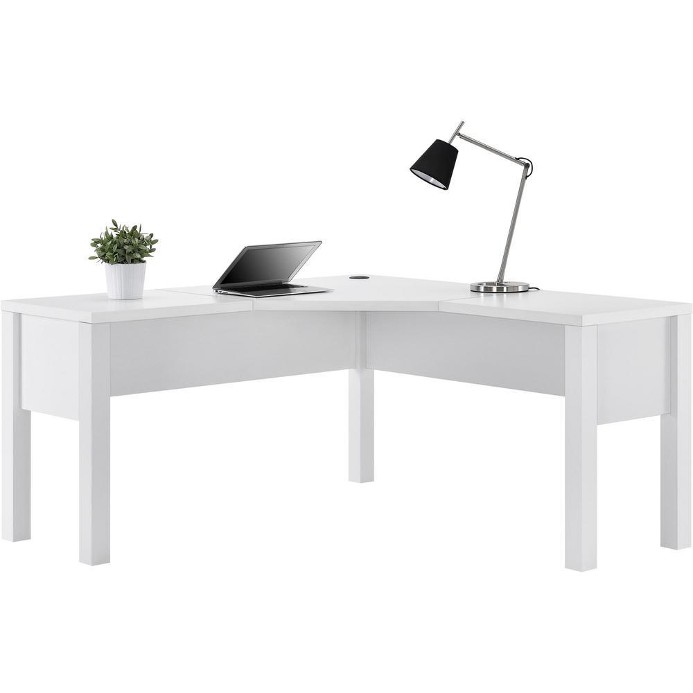 Ameriwood Home Marston White L-Shaped Desk HD20385