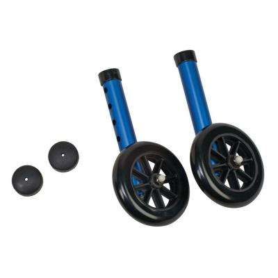 Walker Wheels with Glide Cap Kits in Blue