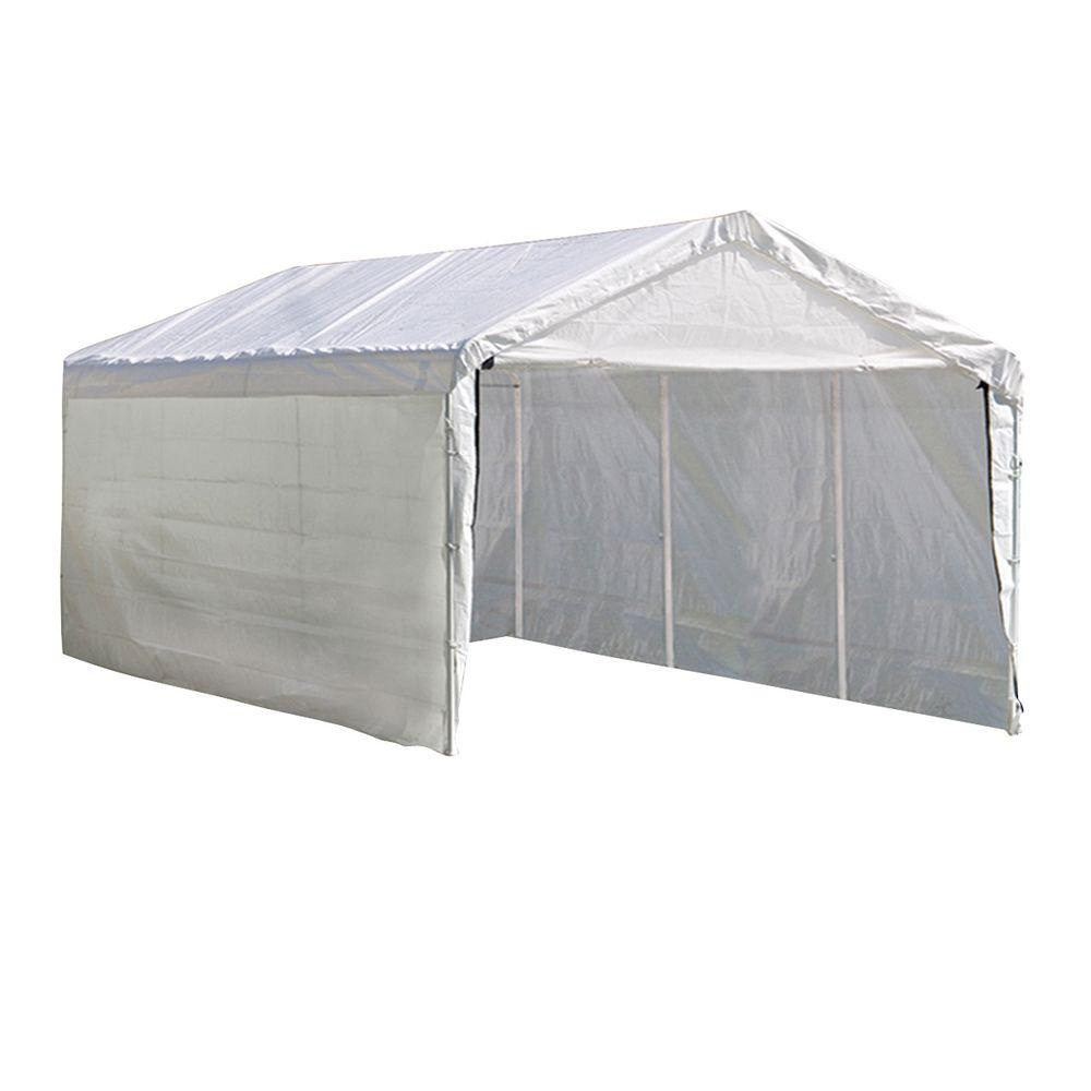 Shelterlogic 10 Ft W X 20 Ft D Supermax 2 In 1 8 Leg Heavy Duty Steel Canopy In White W Enclosure Kit And Twist Tie Tension 23572 The Home Depot