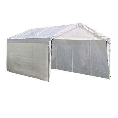 Super Max 10 ft. x 20 ft. 2-in-1 White Heavy Duty Canopy with Enclosure Kit