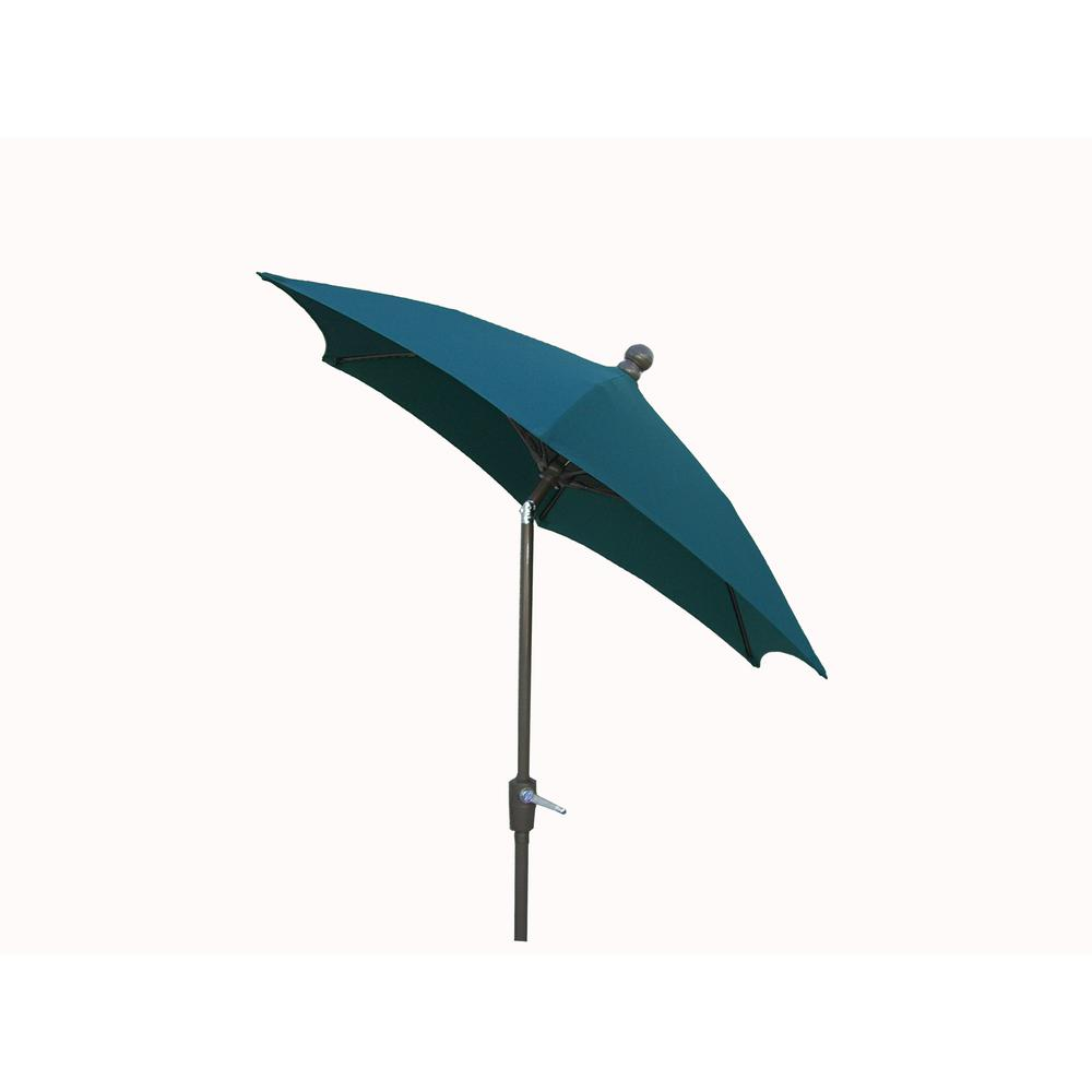 Awesome Null 7.5 Ft. Patio Umbrella With 2 Piece Chanpagne Bronze Pole Tilted And  Forest