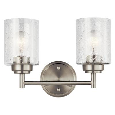Winslow 2-Light Brushed Nickel Vanity Light with Clear Seeded Glass
