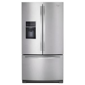 Click here to buy Whirlpool 36 inch W 26.8 cu. ft. French Door Refrigerator in Monochromatic Stainless Steel by Whirlpool.
