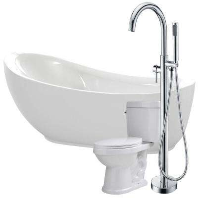 Talyah 71 in. Acrylic Flatbottom Non-Whirlpool Bathtub in White with Kros Faucet and Talos 1.6 GPF Toilet