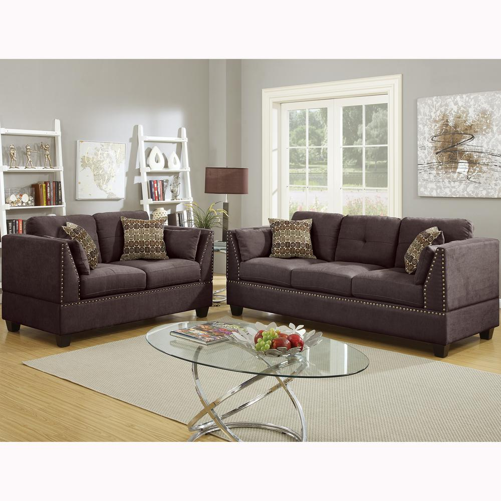 Venetian Worldwide Abruzzo 2 Piece Dark Brown Velvet Sofa Set Vene