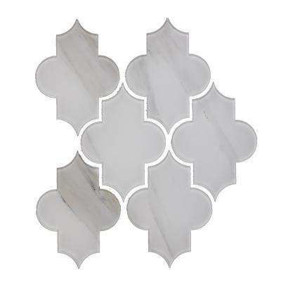 Nature Small Lantern Calacatta White 10 in. x 12 in. x 6.35 mm Glass Mosaic Tile