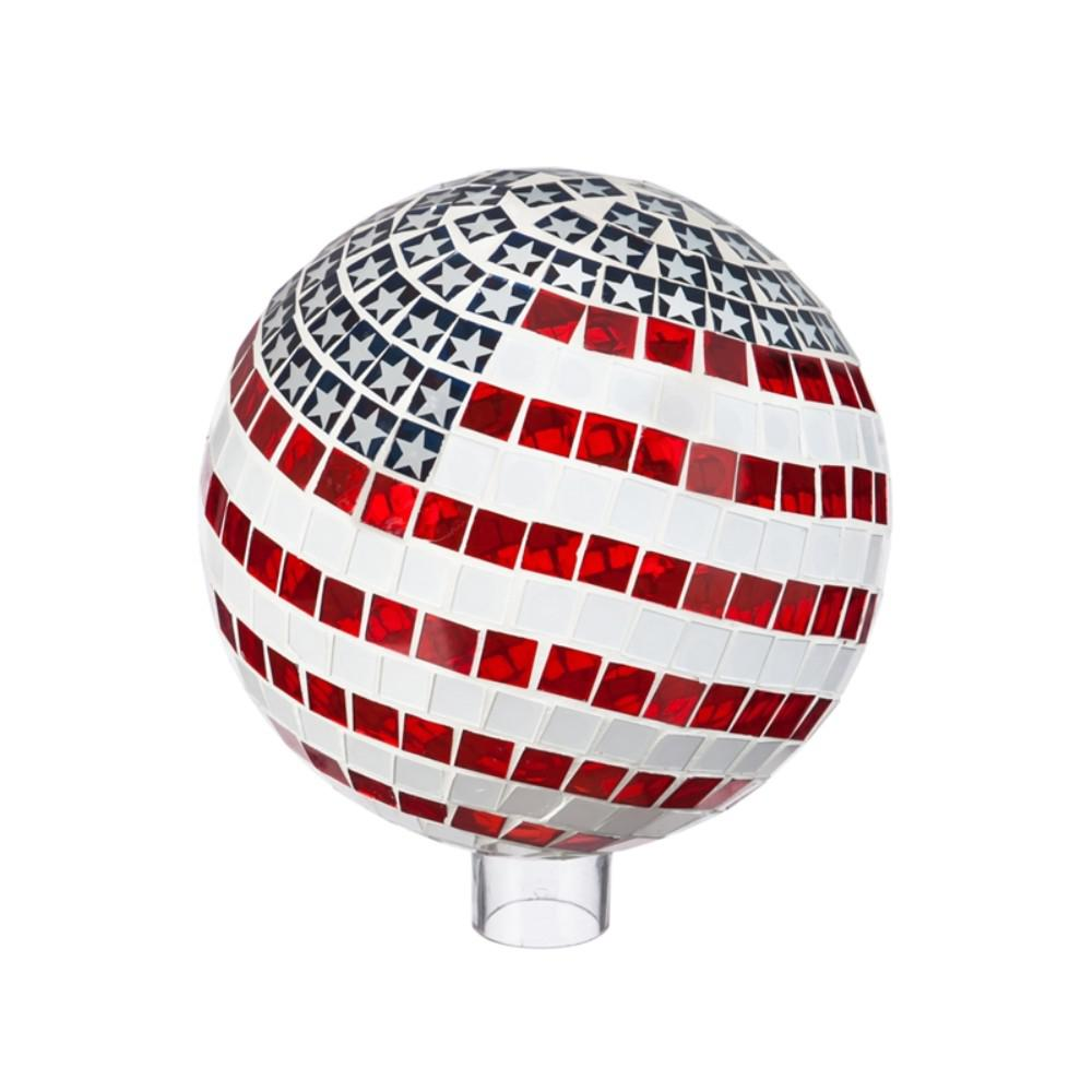 Evergreen Garden 10 in. Patriotic Mosaic Gazing Ball This gazing ball will look great in your home or garden. Made of glass, it is safe for indoor or outdoor use. Approximately 10 in. Dia.