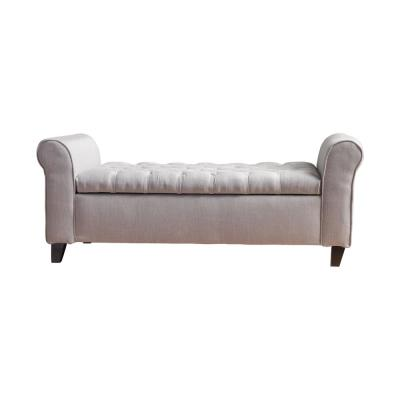 Light Gray Tufted Fabric Armed Storage Bench