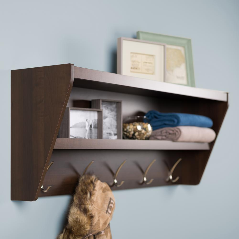 19.2 in. x 48.5 in. Floating Entryway Shelf and Coat Rack