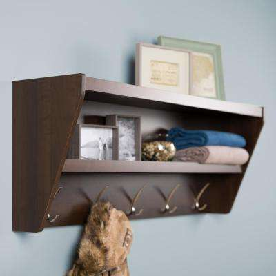 19.2 in. x 48.5 in. Floating Entryway Shelf and Coat Rack in Espresso