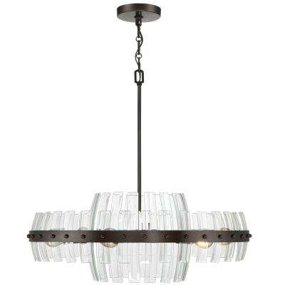 Carson 6-Light Coffee Bronze with Recycled Bent Beveled Glass Pendant