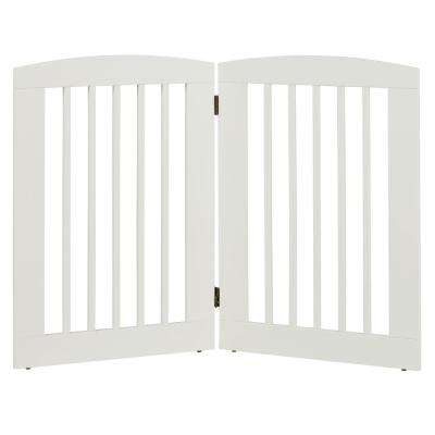 Ruffluv 36 in. H Wood 2-Panel Expansion White Pet Gate