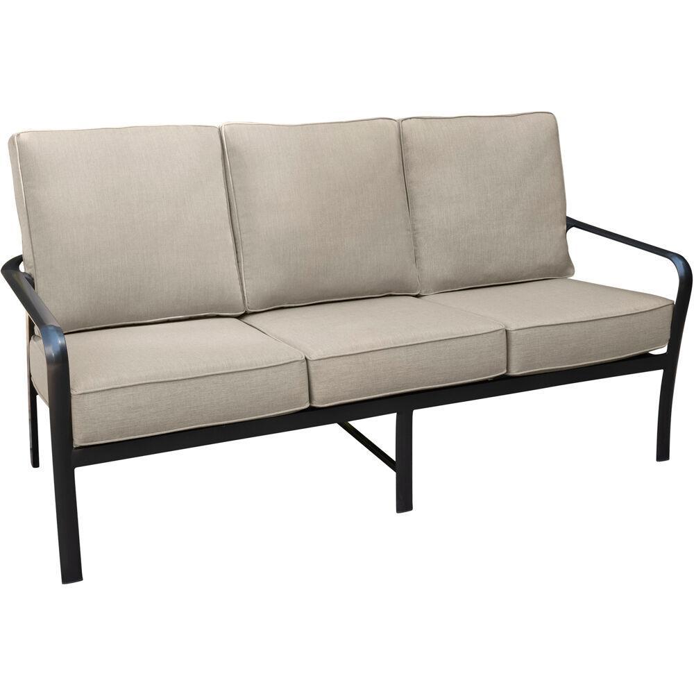 Cortino Commercial Rust-Free Aluminum Outdoor Sofa with Plush Sunbrella Tan Cushions