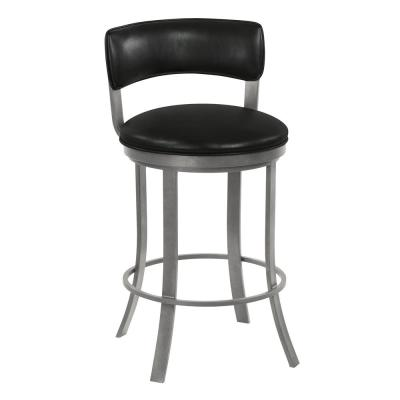 Terry 30 in. Cantina Black Swivel Barstool