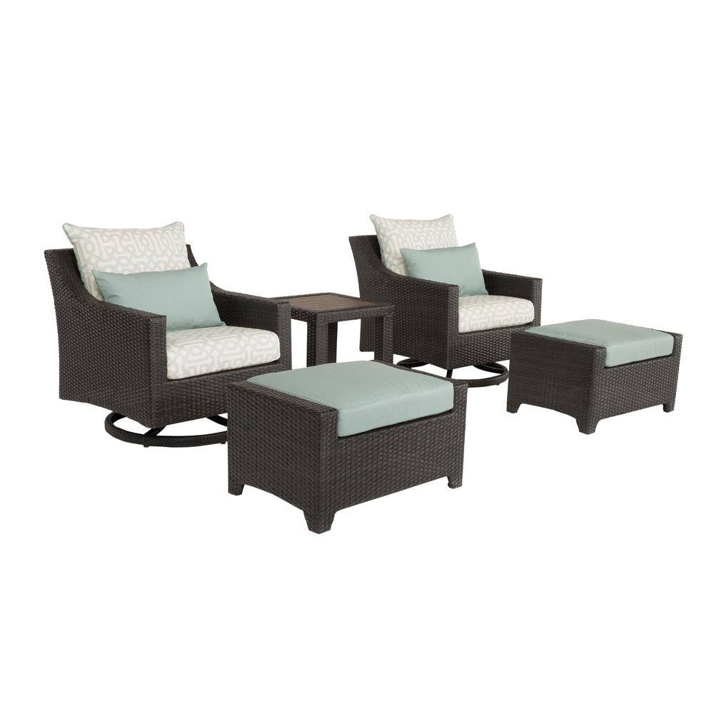 Deco 5-Piece All-Weather Wicker Patio Deluxe Motion Club and Ottoman