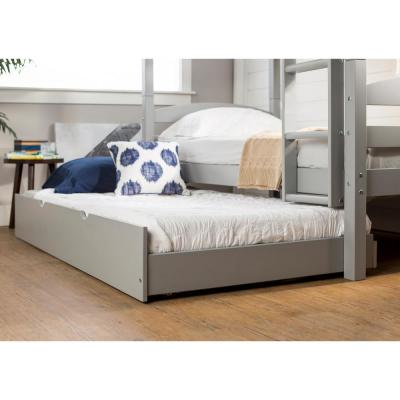 Transitional Solid Wood Hidden Storage Twin Trundle Bed - Grey