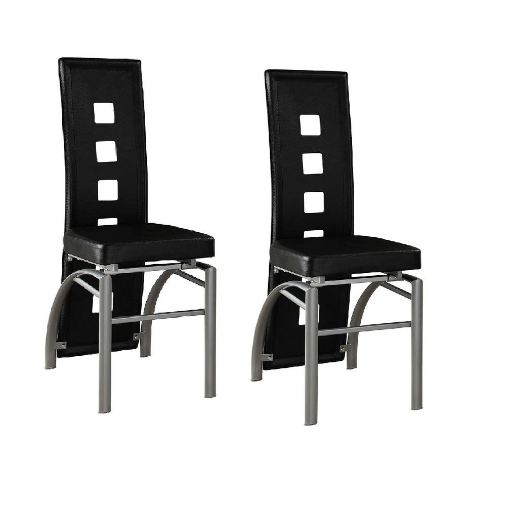 Coaster Contemporary Black Leatherette With Keyhole Back Dining Chair Set Of 2