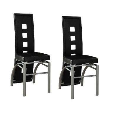 Contemporary Black Leatherette with Keyhole Back Dining Chair (Set of 2)