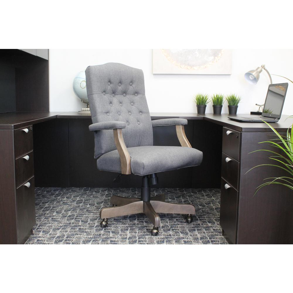 Boss Slate Grey Linen Chair With Driftwood Finish Frame