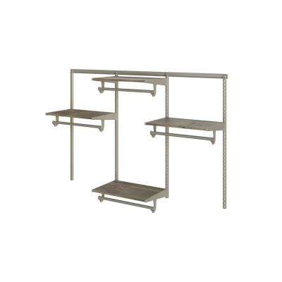 Closet Culture 16 in. D x 72 in. W x 48 in. H  with 4 Driftwood Wood Shelves Steel Closet System