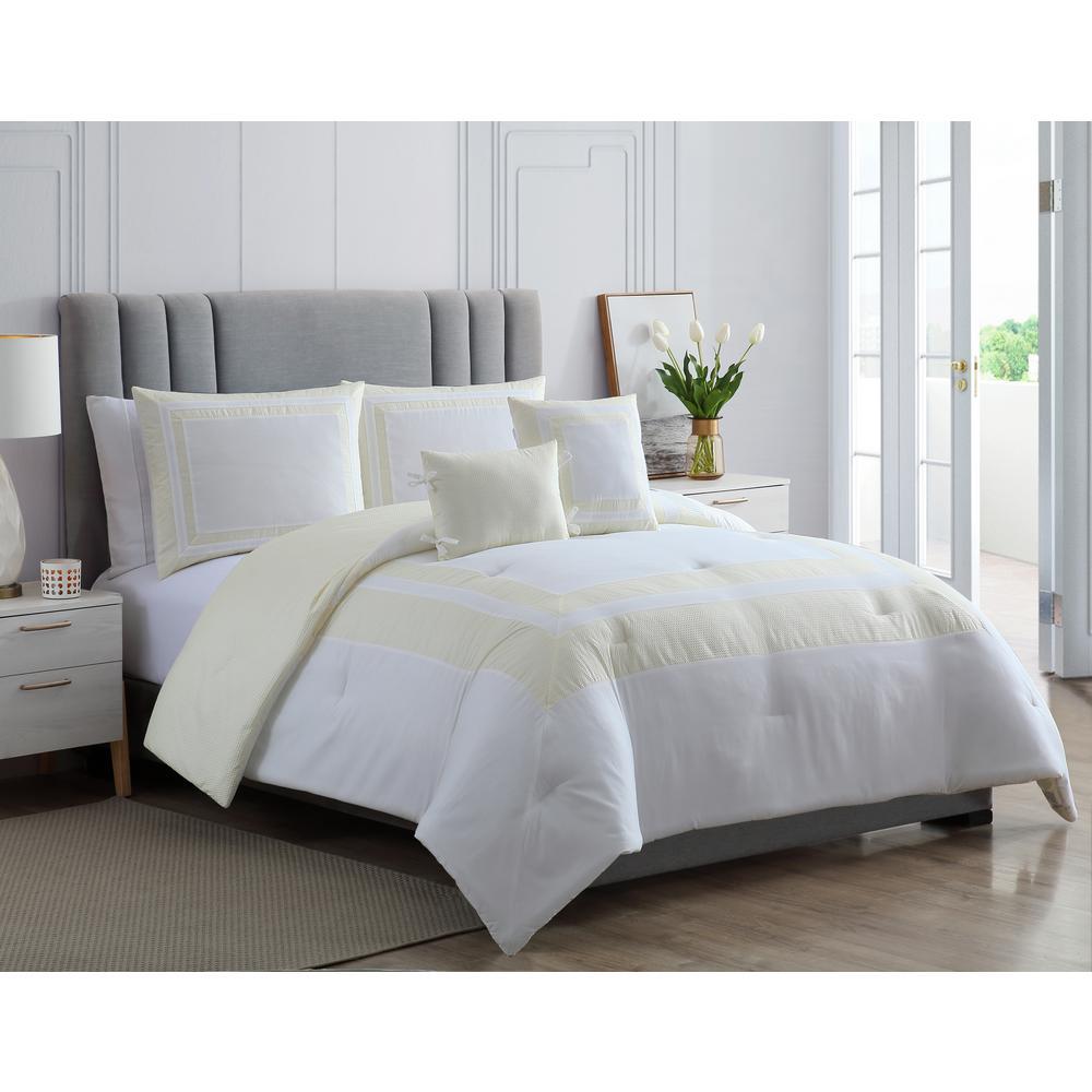 MHF Home Caleigh Yellow Full/Queen Seersucker Hotel Comforter Set