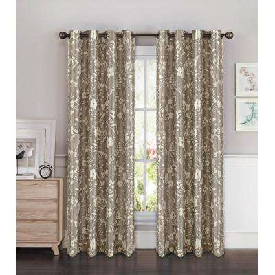 Semi-Opaque Florabotanica Printed 54 in. W x 90 in. L Grommet Extra Wide Curtain Panel in Faux Silk Moss