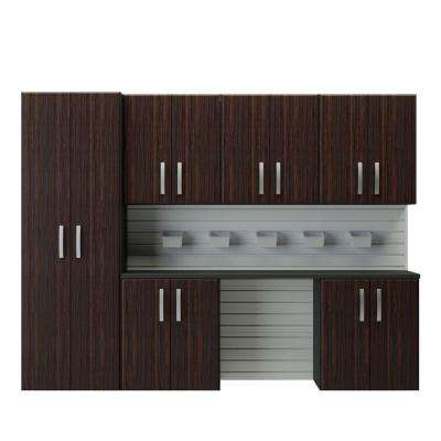 Modular Wall Mounted Garage Cabinet Storage Set with Accessories in Espresso (7-Piece)