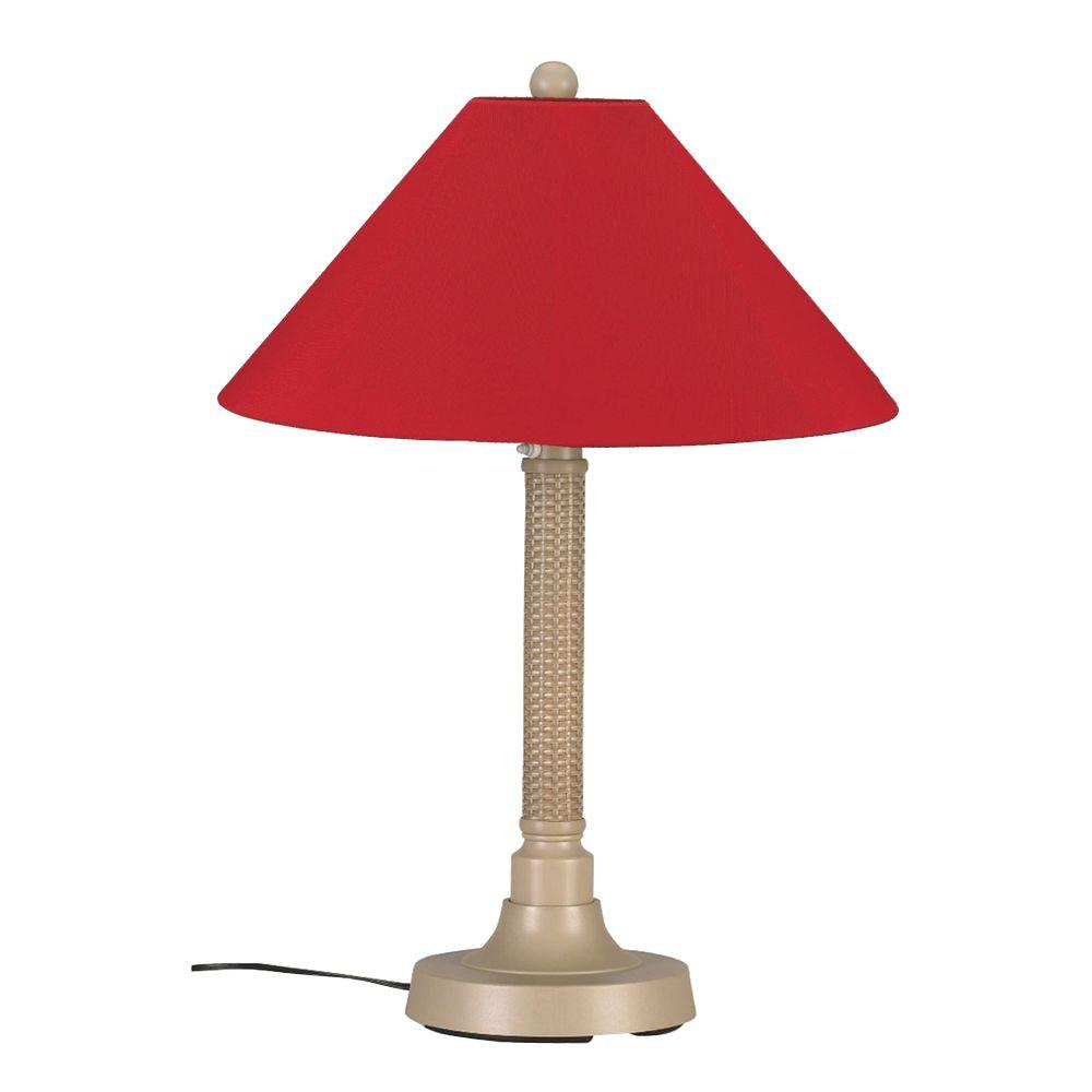 Bahama Weave 34 in. Mojavi Outdoor Table Lamp with Jockey Red